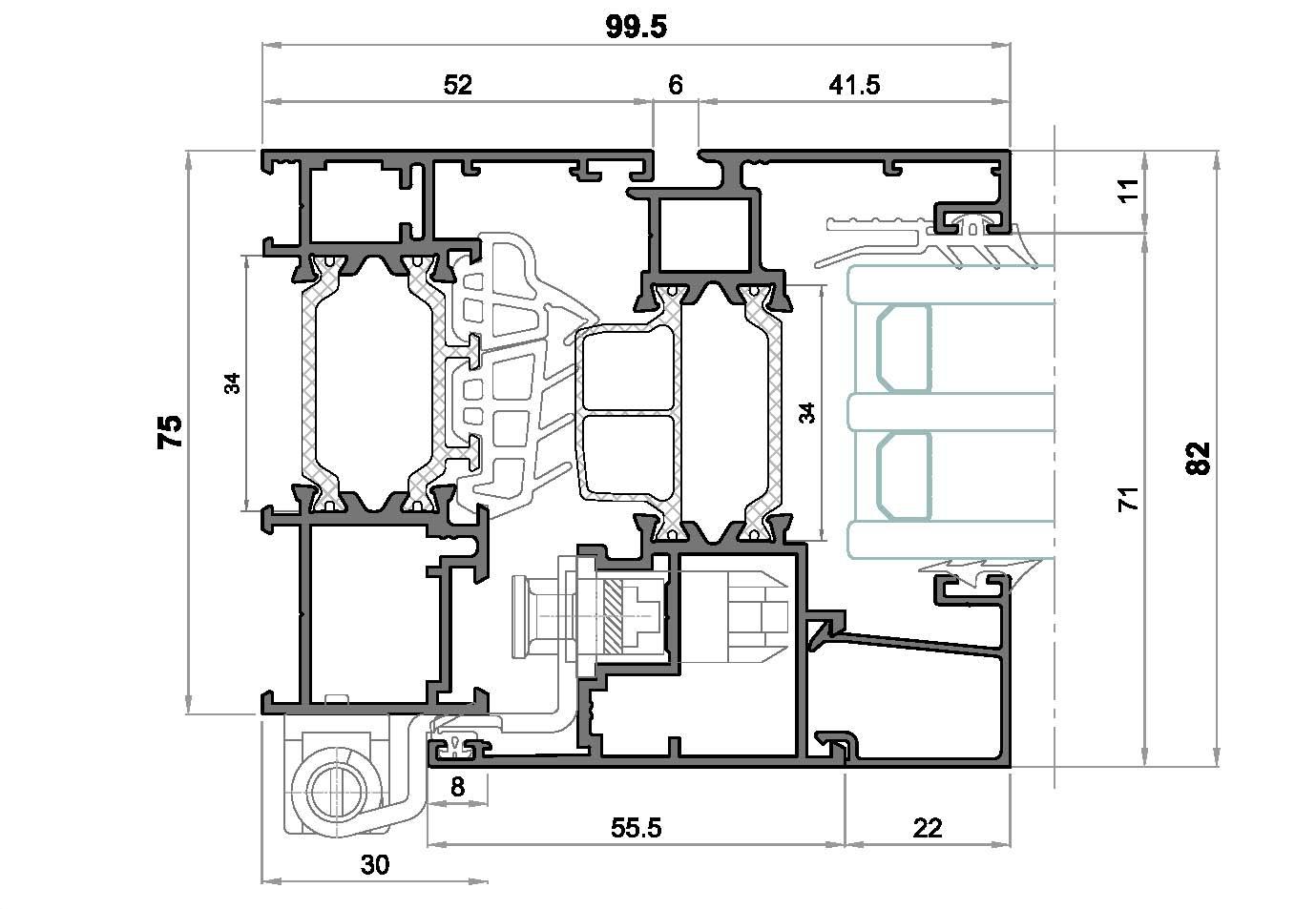 alg 75 C16-Seccion lateral ventana