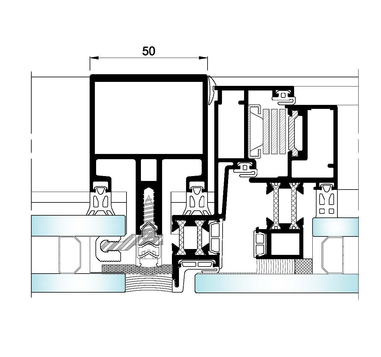 AL50 Intercalario-Seccion horizontal fijo-ventana
