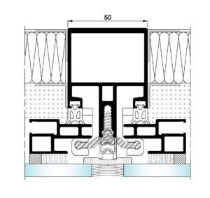 AL50 Intercalario-Seccion horizontal vidrio-panel