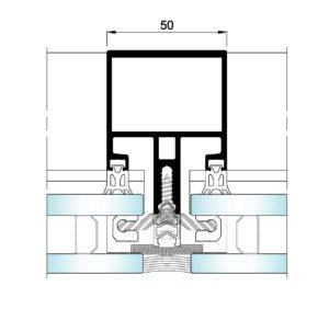 AL50 Intercalario-Seccion horizontal vidrio-vidrio