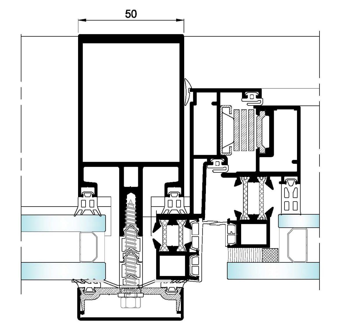 AL50 Tapetas-Seccion horizontal fijo-ventana
