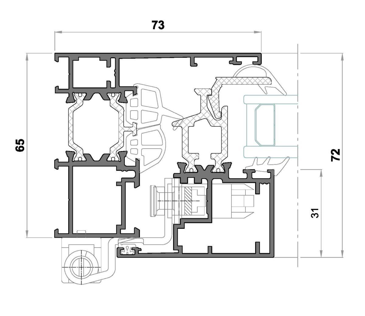 Alg 65 HS C16-Seccion lateral ventana Cerco liso