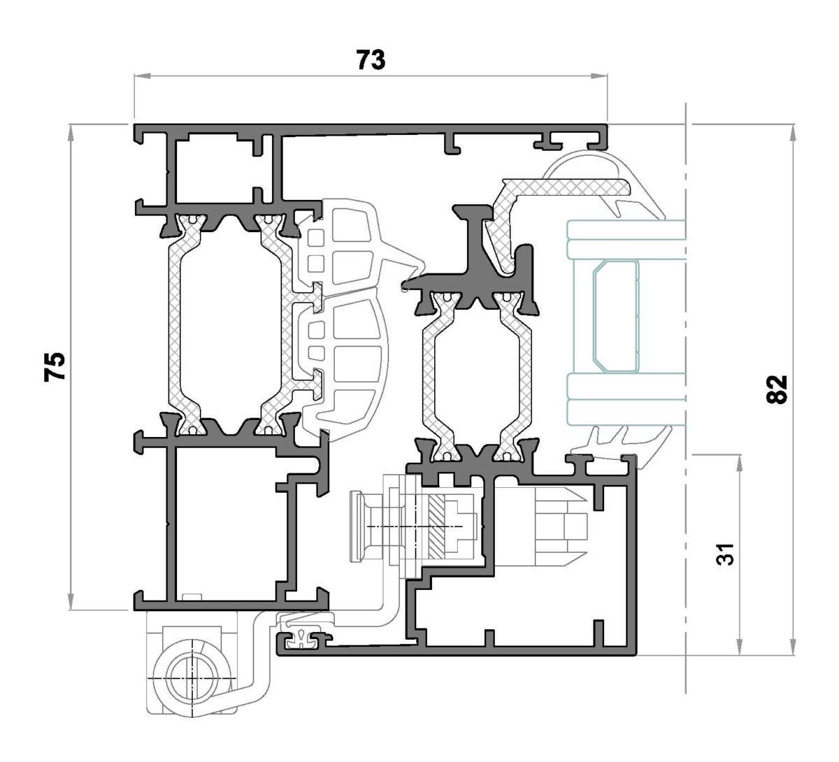Alg 75 HS C16-Seccion lateral ventana Cerco liso