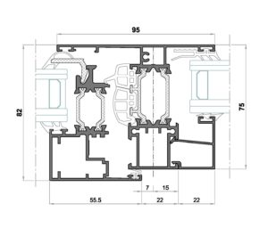 Alg 75 HS C16-Seccion pilastra ventana con fijo
