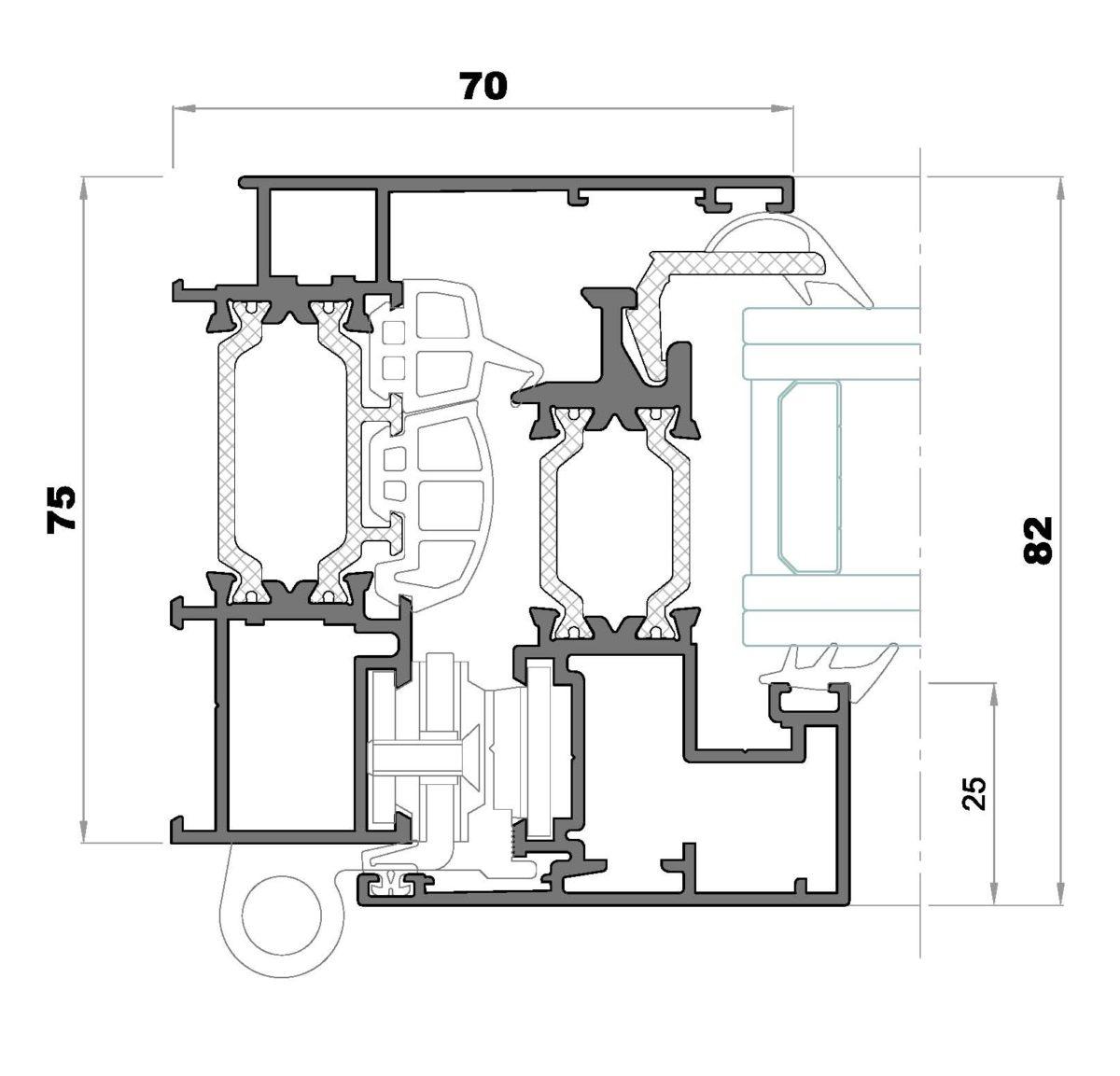 Alg 75 HS-Seccion lateral ventana Cerco huella