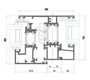 Alg 75 HS-Seccion pilastra ventana con fijo
