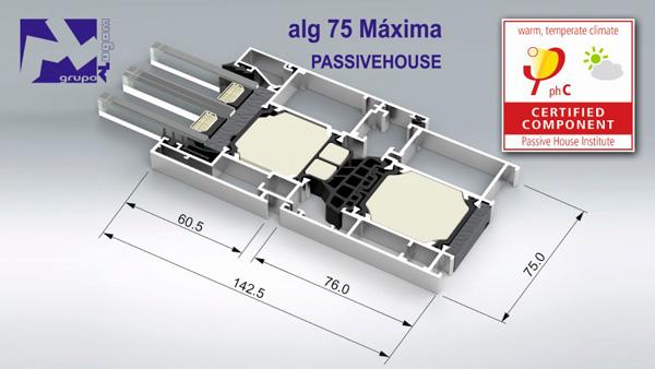 sistema aluminio abisagrado ALG 75 máxima passivehouse Alugom